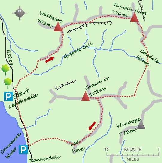Grasmoor from Crummock map