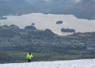 Snowboarding on Skiddaw