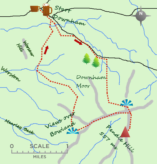Pendle Hill from Downham map
