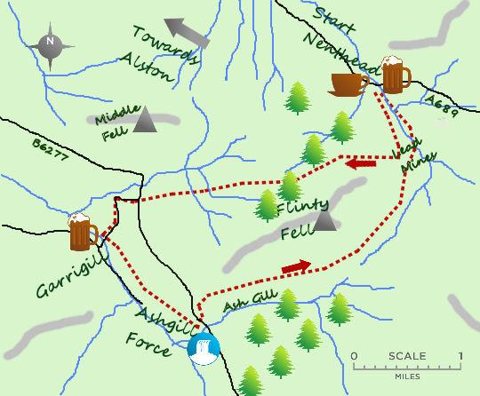 Nenthead to Garrigill map