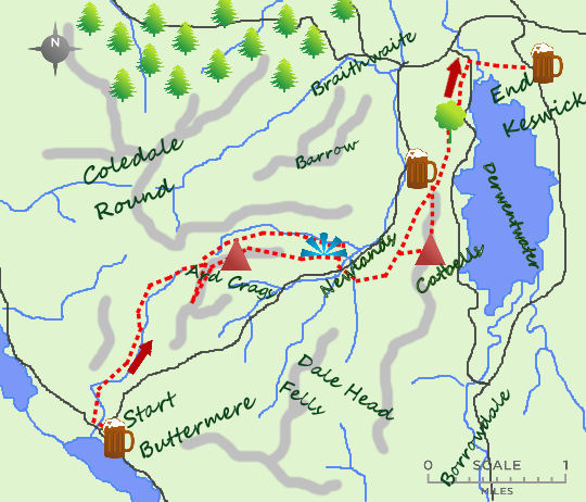 Buttermere to Keswick map