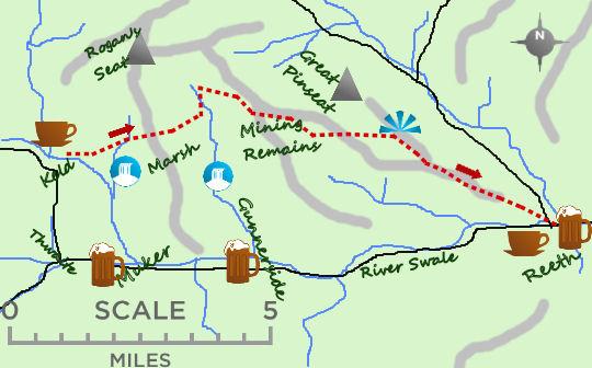 Keld to Reeth map