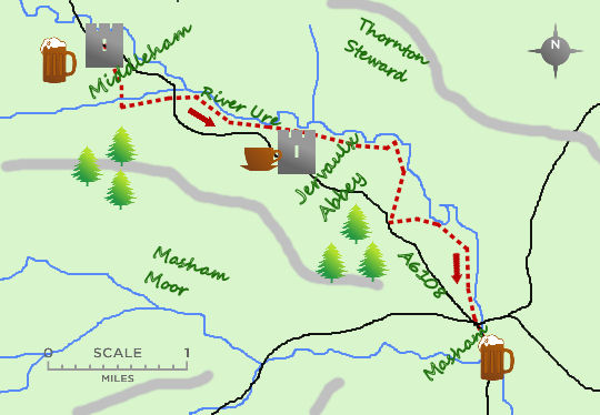 Middleham to Masham map