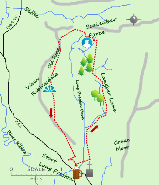 Long Preston lanes map