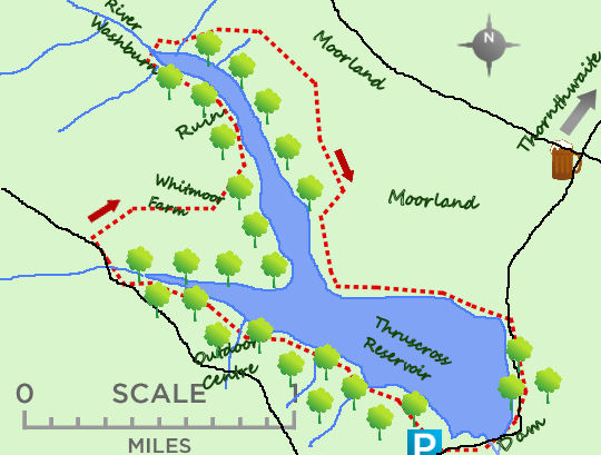 Thruscross Reservoir map