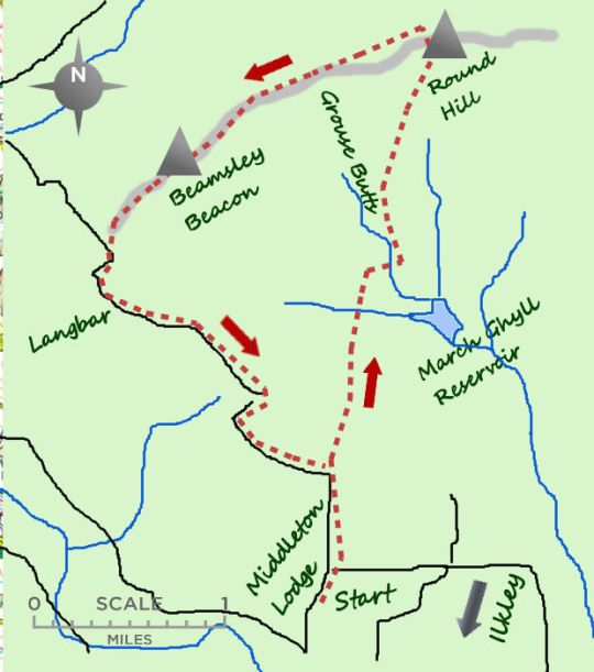 Beamsley Moor from Ilkley map
