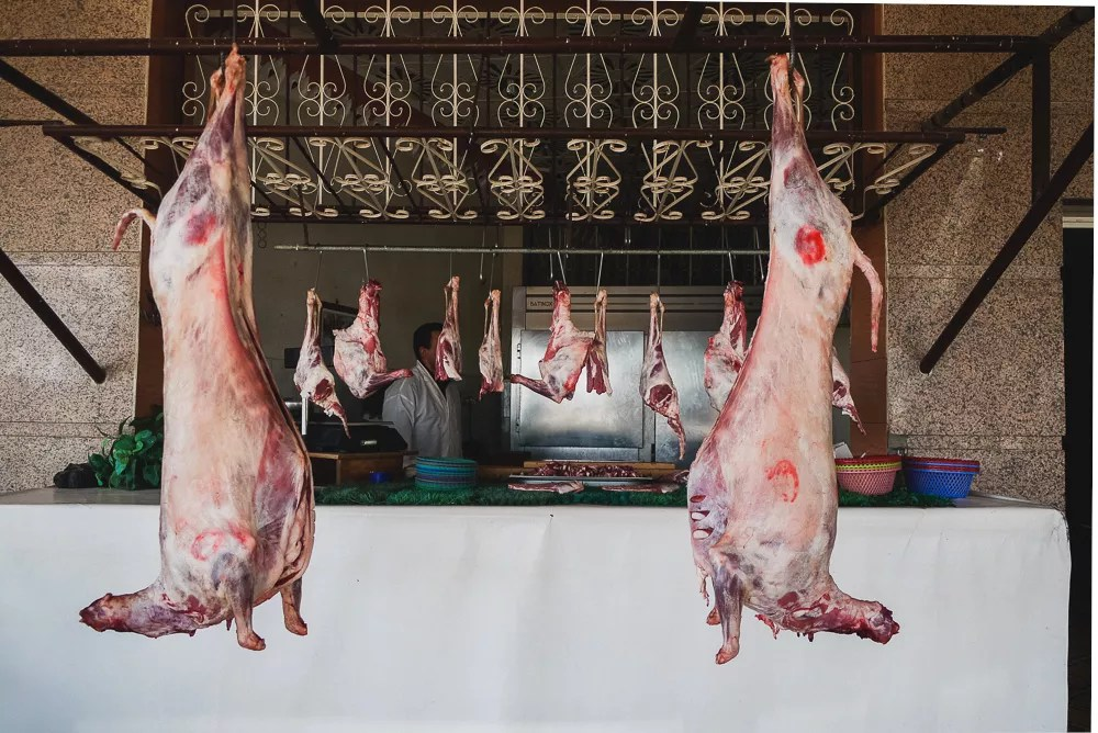 Fresh Mutton Hanging Butcher Morocco