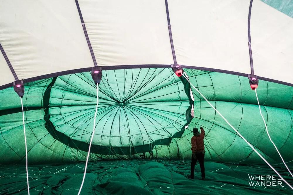 Inflating Hot Air Balloon in Myanmar