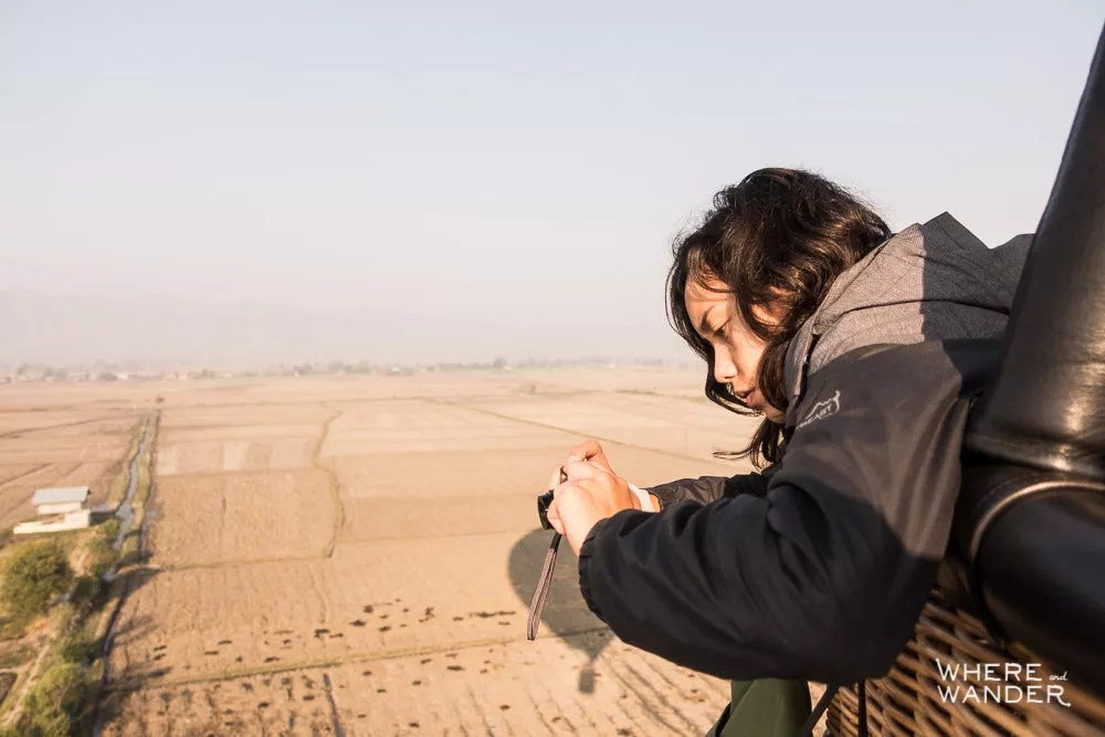 Girl Taking Photograph From Hot Air Balloon Over Myanmar