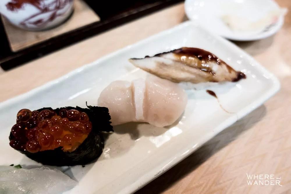 Ikura, Scallop and Eel Nigiri Dish At Tsukiji Fish Market Restaurant