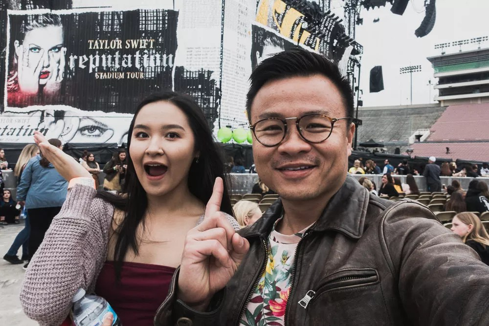 Me and my cousin attending Taylor Swift Rose Bowl Concert