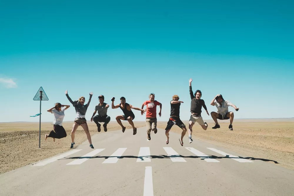 Group Jumping Shot In Mongolia Abbey Road