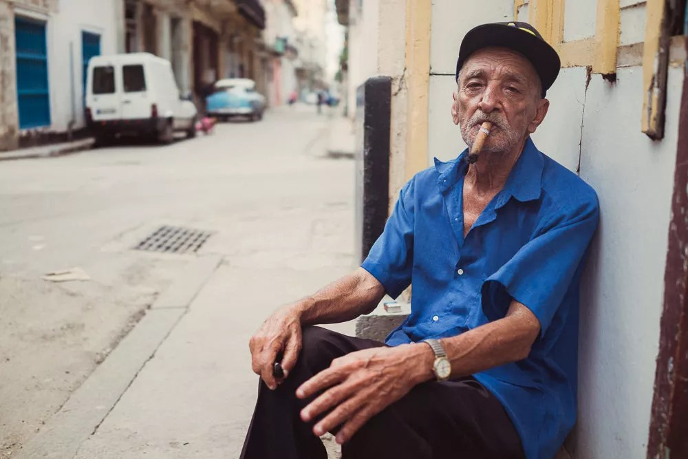 Portrait of old man in Havana