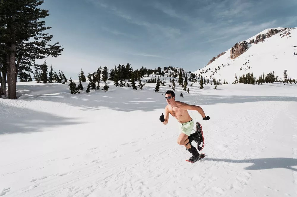 running in shoe at lassen national park