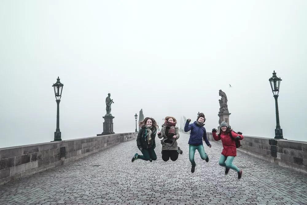 Jumping Photo at Charles Bridge