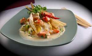 Steamed Maine Lobster & Sweet Corn Tamale with Creamy Chilies and Leeks by Finalist Chef Clifford Pickett