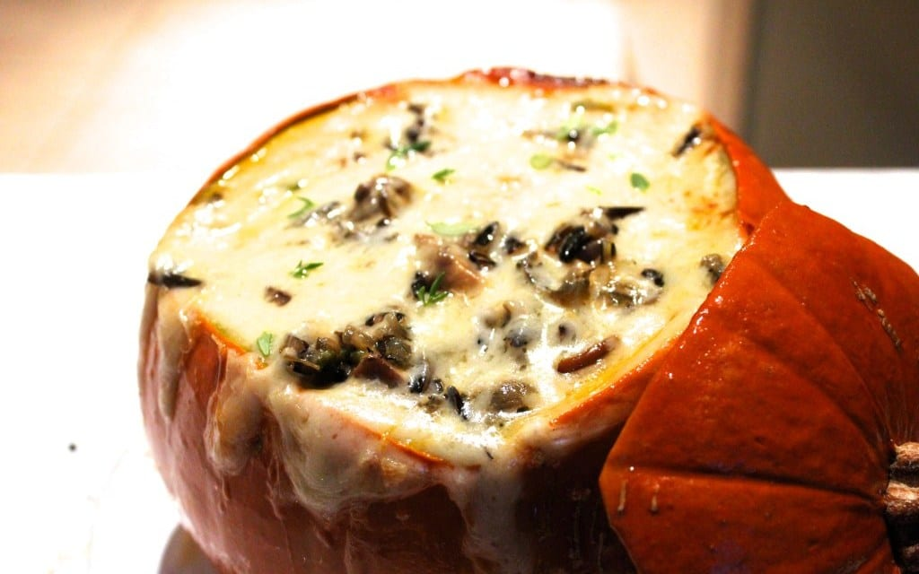 Andrew Schloss' Fire-Roasted Pumpkin Filled with Wild Mushroom Risotto and Mascarpone