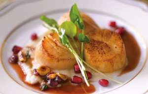 Seared Scallops with Hazelnut POM Brown Butter Sauce by Chef Chris Lee