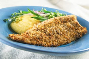 Pecan Crusted Trout with Peach Maple Bourbon Sauce