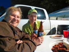 Maralyn & Michelle Toasting Crawfish