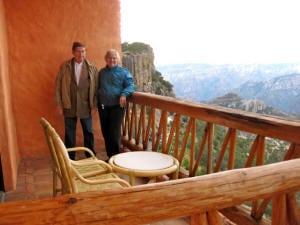 Norm & Maralyn on balcony overlooking canyon