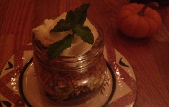 Roasted Apple and Pear Crumble in Mason Jar (new dessert each day) Photo: Marguerite Jill Dye