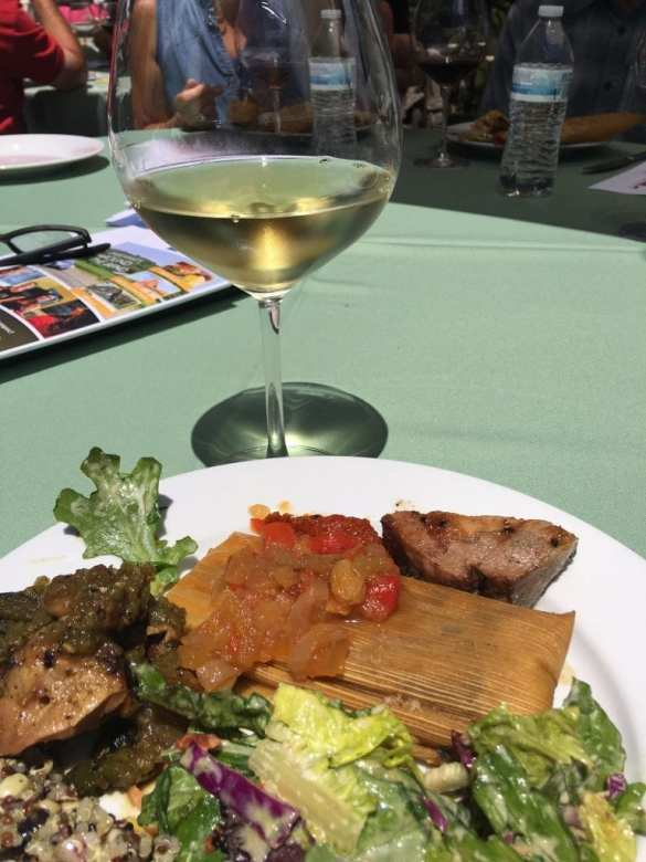 Tamales, grilled chicken and pork, cool salad and more wine, of course.