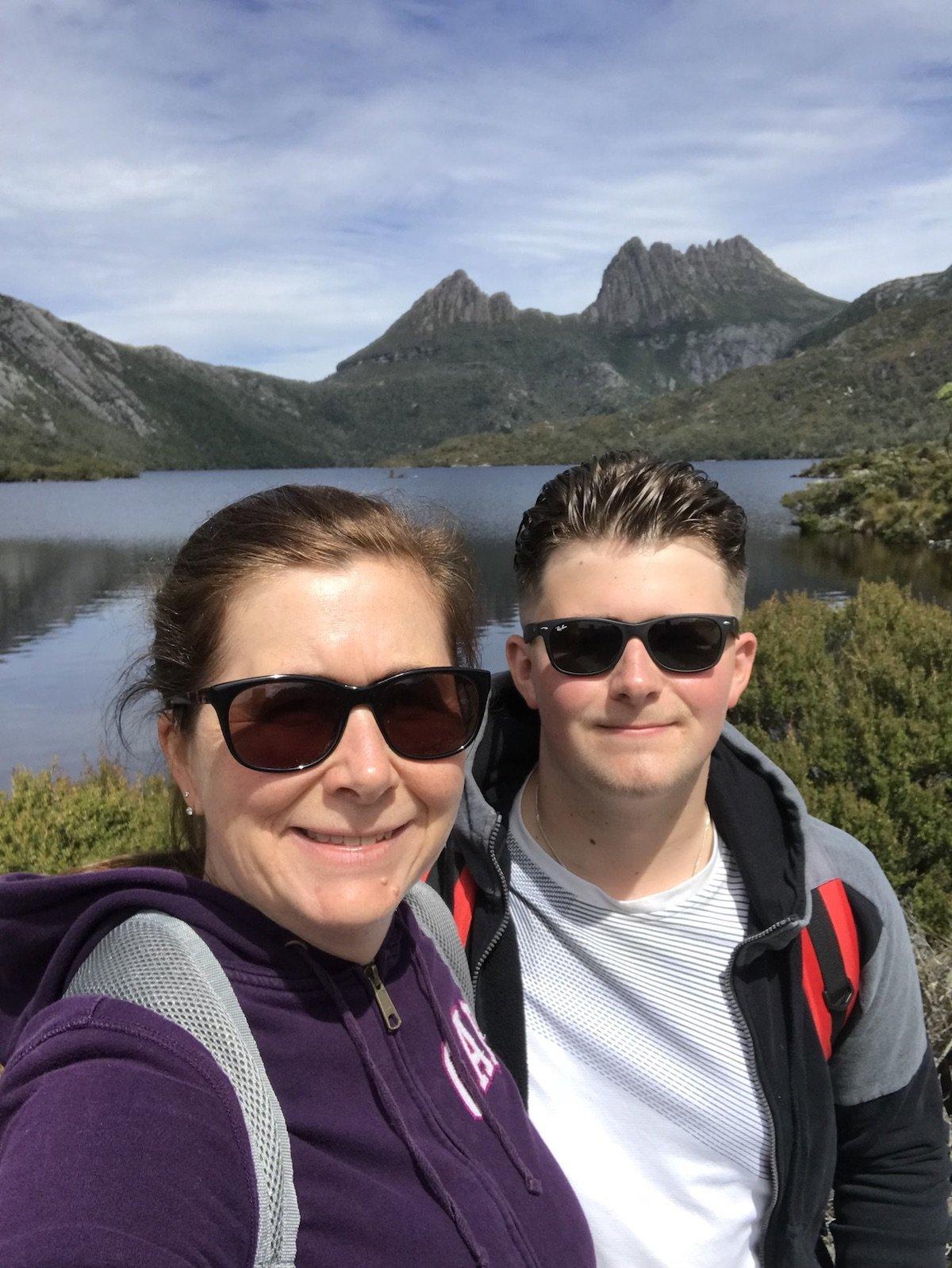 Angie and Dominic hiking around Dove Lake