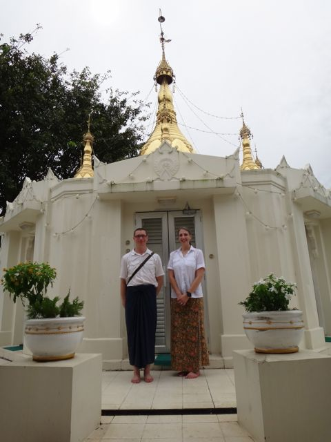 Us standing in front of the pagoda at IMC.