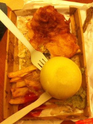 Fish and Chips with worlds largest picked onion