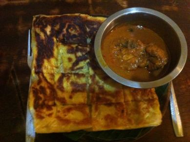 Onion Roti and Chicken Curry
