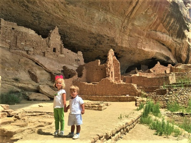 Kids at Long House cliff dwelling at Mesa Verde National Park