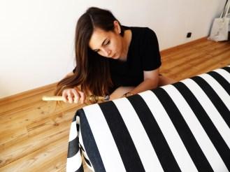 positionnement et tension du tissu