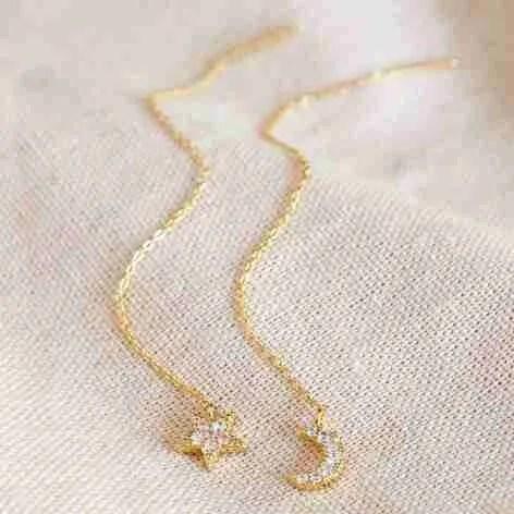 moon and star chain earrings