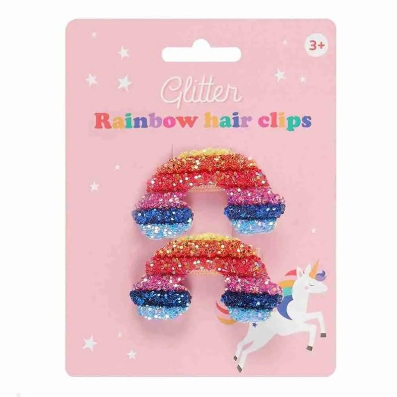 Rainbow glitter hair clips