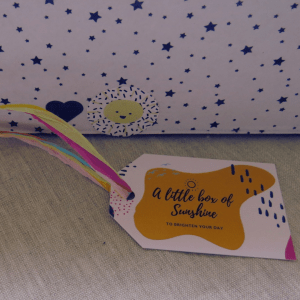 Sunshine Care Package- with a sunshine tag and sunshine sticker seals