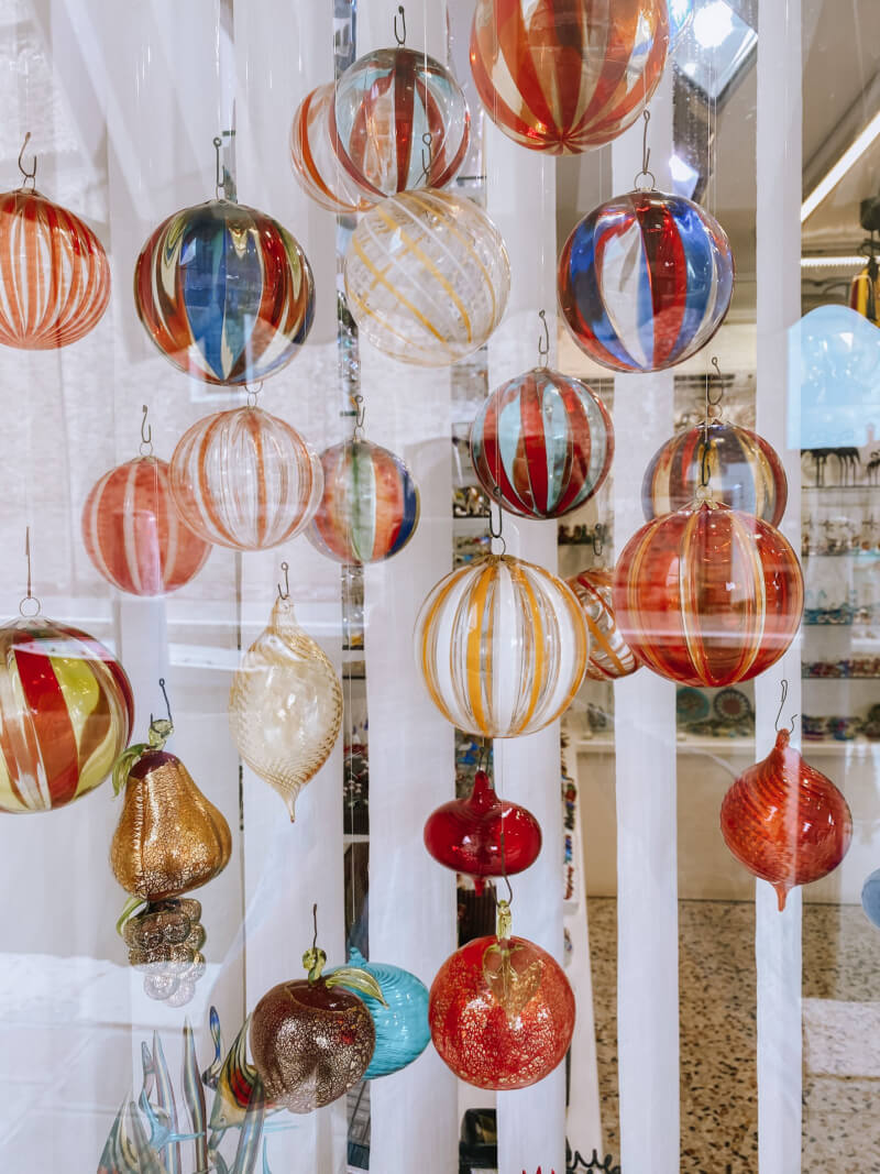 image of glass ornaments in Murano