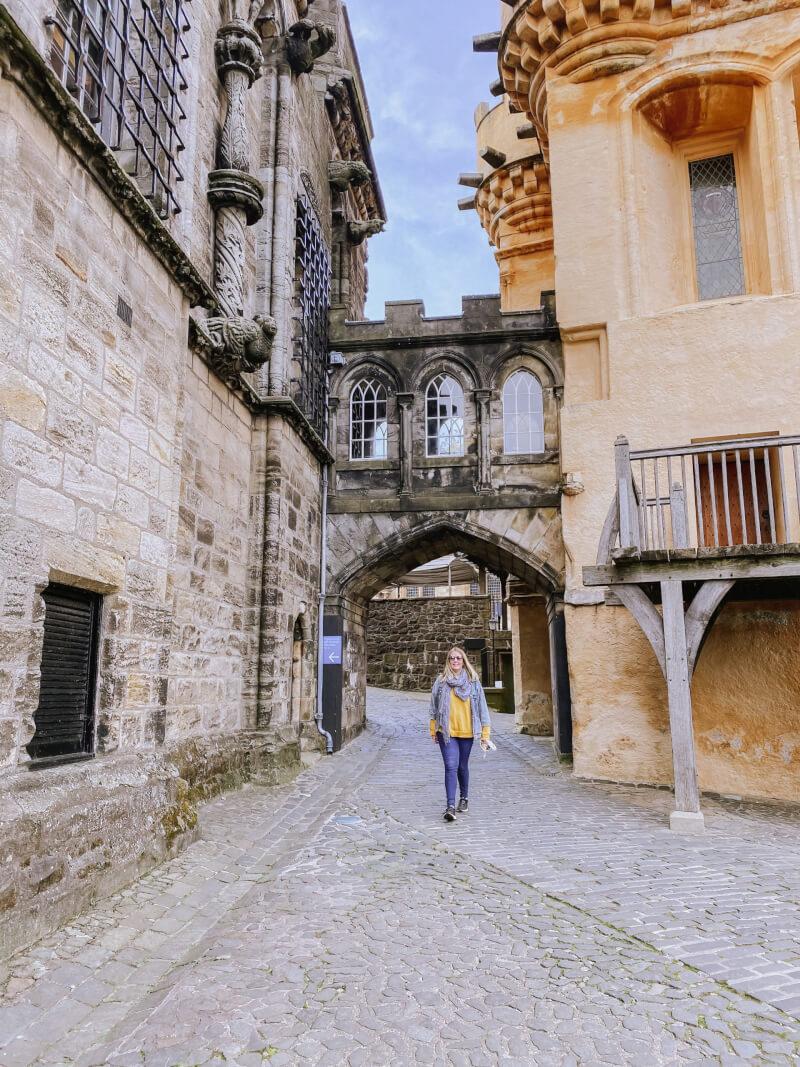 image of women walking through Stirling castle