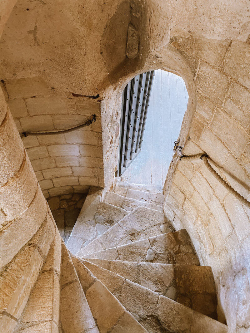 image of spiral staircase at Castle Rising in Norfolk