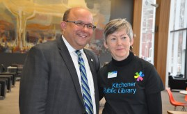 Mayor Berry Vrbanovic and Kitchener Public Library CEO Sonia Lewis.