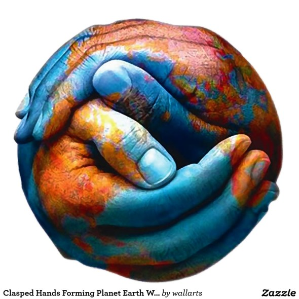 clasped hands resembling the earth