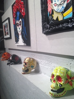 Day of the Dead painted skulls and artwork