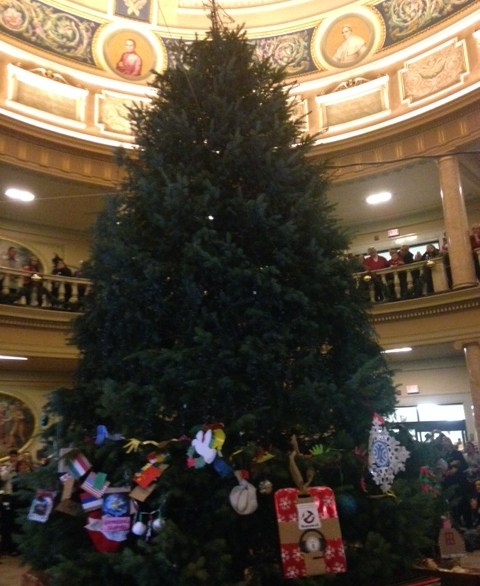 Marywood Christmas tree in the rotunda before being lit