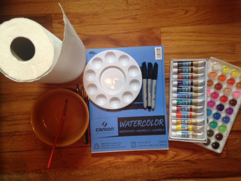 watercolor paints, watercolor paper, pallet, paintbrushes, sharpies, and paper towels