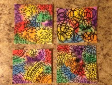 close up of colorful design water colors