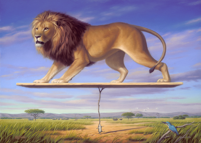 Lion Surrealist painting