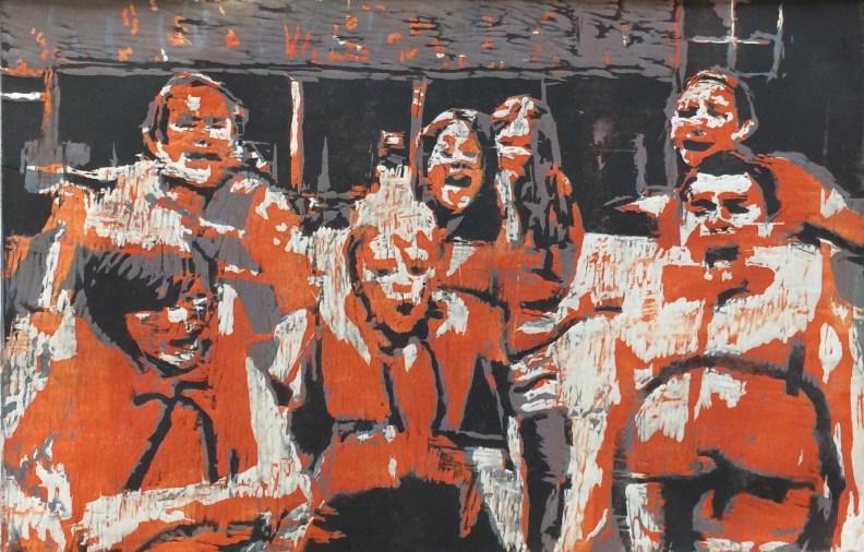 print, camp, children, orange