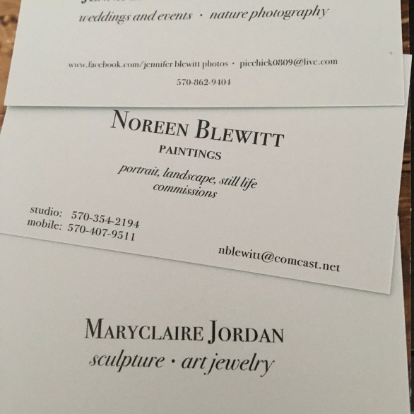Business cards with info for the galleries