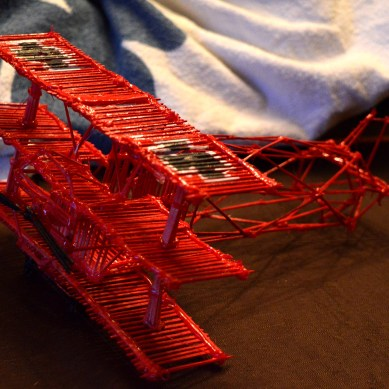 Toothpick structure. Red airplane