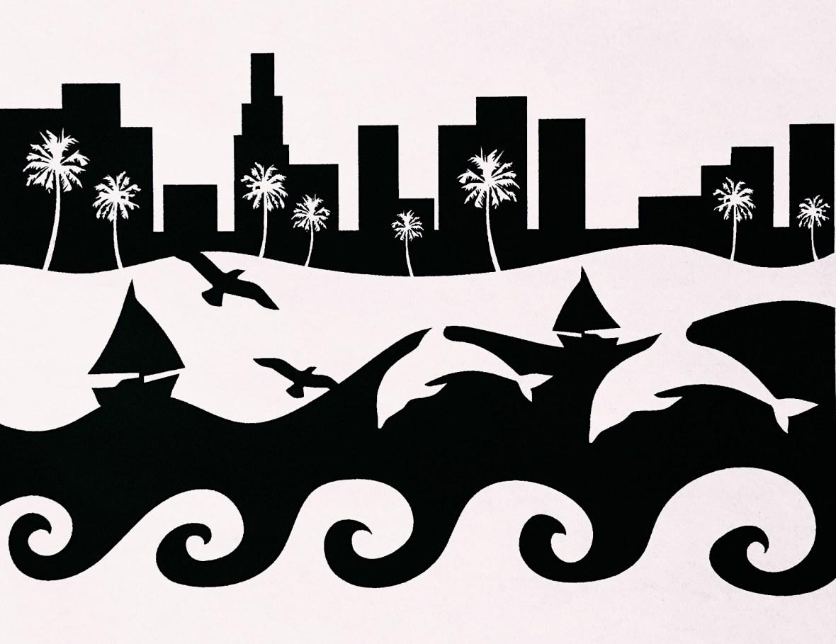 Figure ground reversal design with an ocean scene landscape